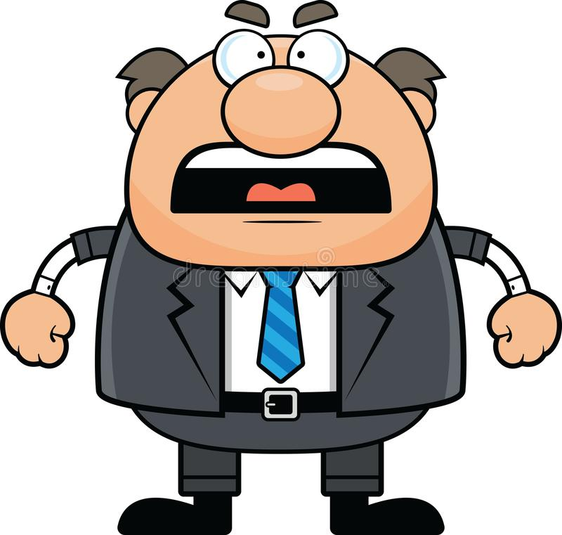 Cartoon Boss Man Angry. Cartoon illustration of a boss with an angry expression