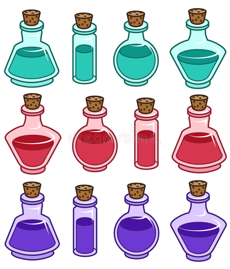 Cartoon bottles vector elements. stock photos