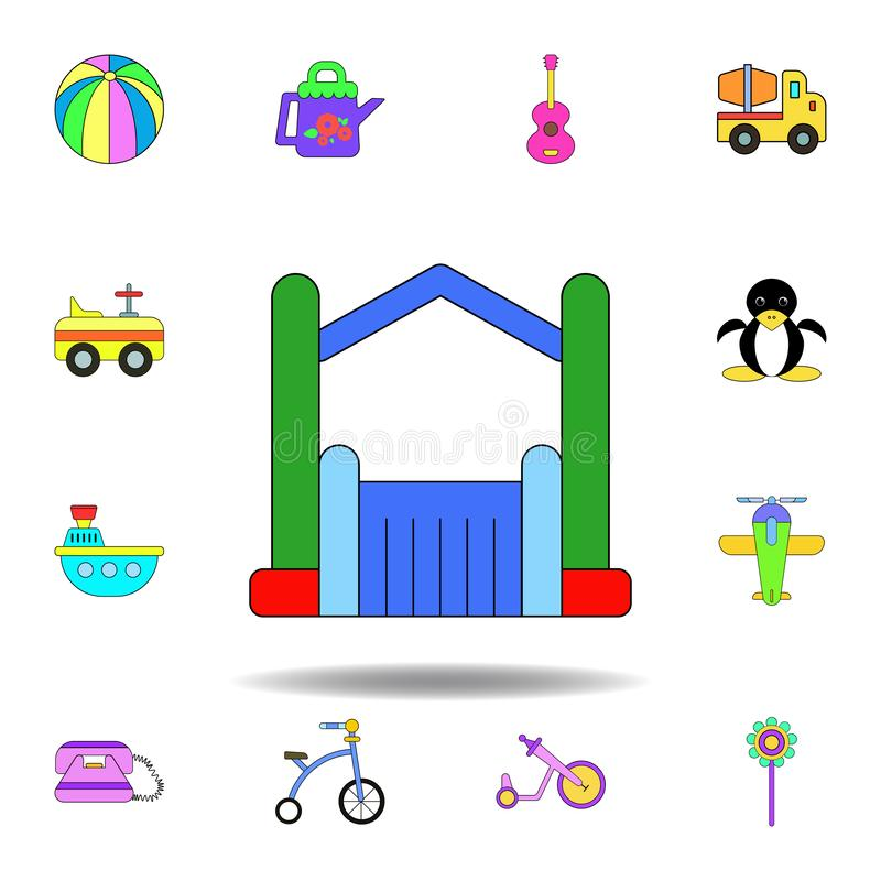 Cartoon bouncy castle inflatable toy colored icon. set of children toys illustration icons. signs, symbols can be used for web,. Logo, mobile app, UI, UX on stock illustration