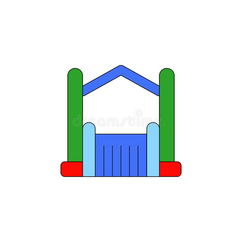 Cartoon bouncy castle inflatable toy colored icon. Signs and symbols can be used for web, logo, mobile app, UI, UX. On white background stock illustration