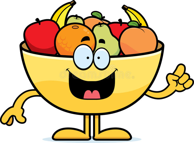 Cartoon Bowl of Fruit Idea royalty free illustration