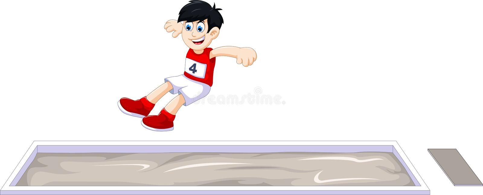 Cartoon boy athlete doing long jump in the competition stock illustration