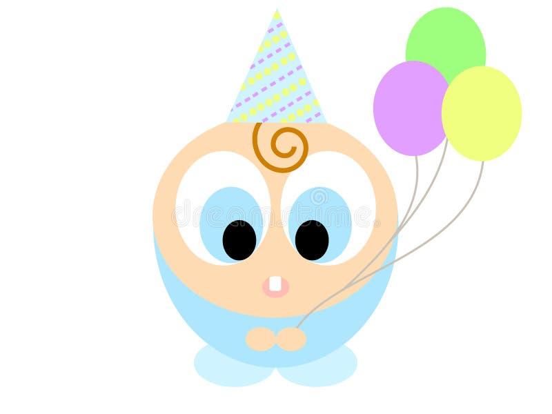 Cartoon boy with balloons stock photos