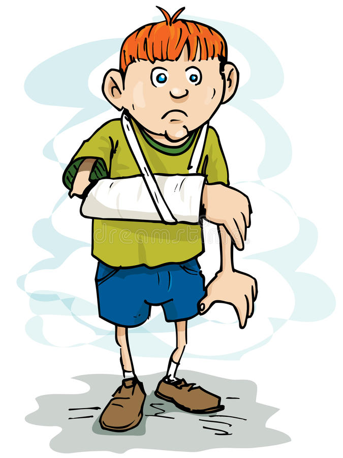 Download Cartoon Boy With A Broken Arm Stock Illustration - Illustration: 21823382