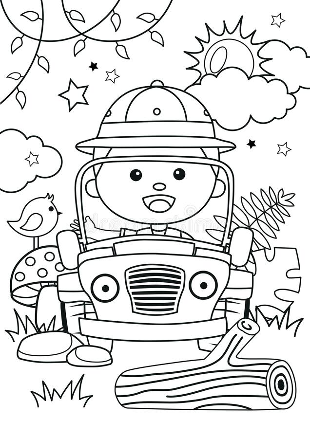 Cartoon Of A Boy On Car In The Jungle Coloring Pages Stock Vector -  Illustration Of Character, Leaf: 183949844