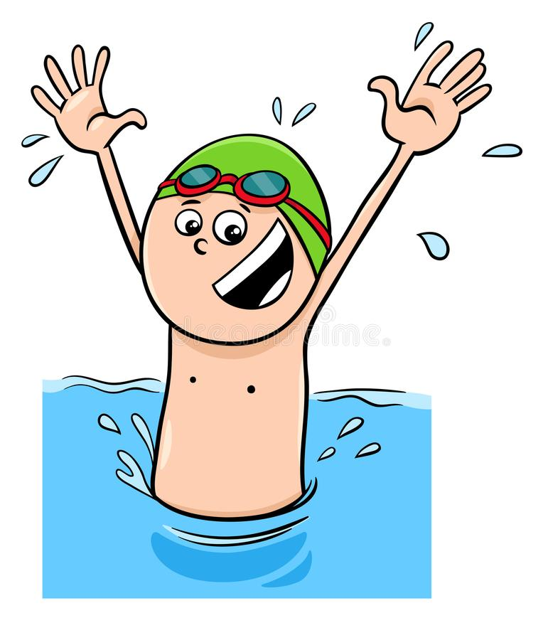 Cartoon boy character swimming in the water stock illustration