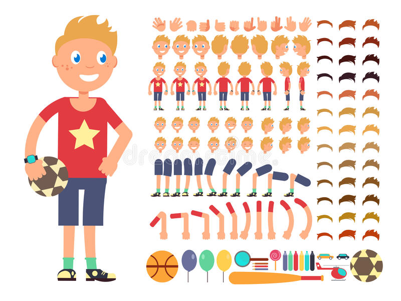 Cartoon boy character. Vector creation constructor with different emotions and body parts. Constructor boy character head leg and hand illustration vector illustration