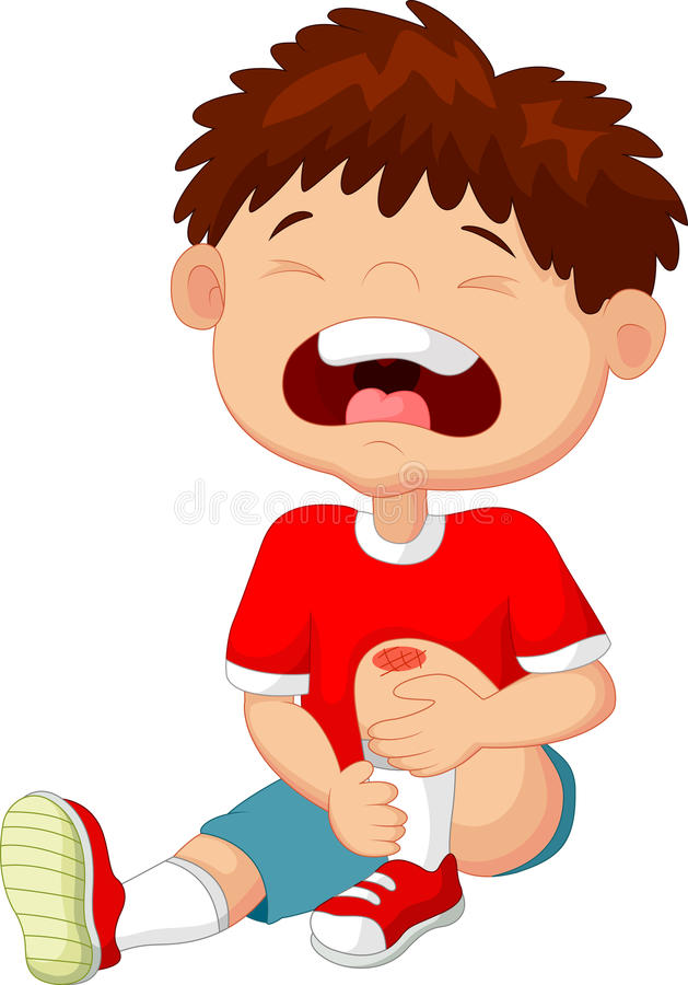 Free Cartoon Boy Crying With A Scratch On His Knee Stock Images - 51244194