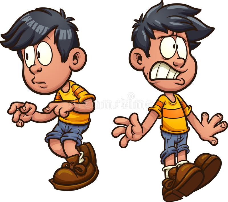 Cartoon boy. Cute cartoon boy cautious and shocked. Vector clip art illustration with simple gradients. Each on a separate layer royalty free illustration