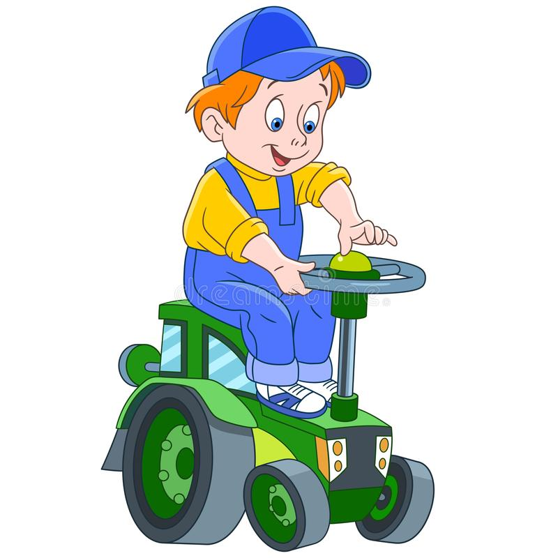 Cartoon boy driving a tractor royalty free illustration