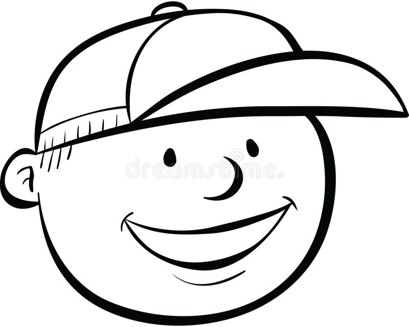 Line Drawing Of Happy Face : Cartoon boy face stock illustration of