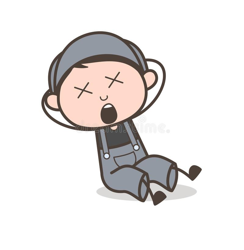Cartoon Boy Fall Down with Dizzy Face Expression Vector Illustration stock illustration
