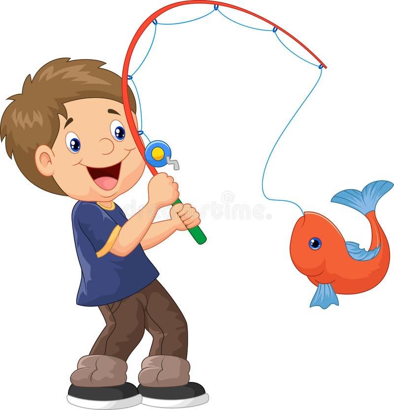 Free Cartoon Boy Fishing Stock Image - 45759031