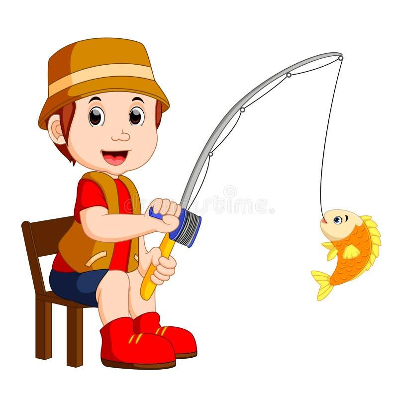 Cartoon Boy fishing. Illustration of Cartoon Boy fishing stock illustration