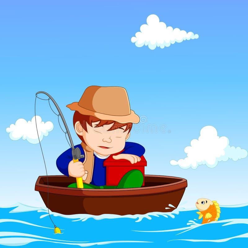 Cartoon Boy fishing. Illustration of Cartoon Boy fishing royalty free illustration