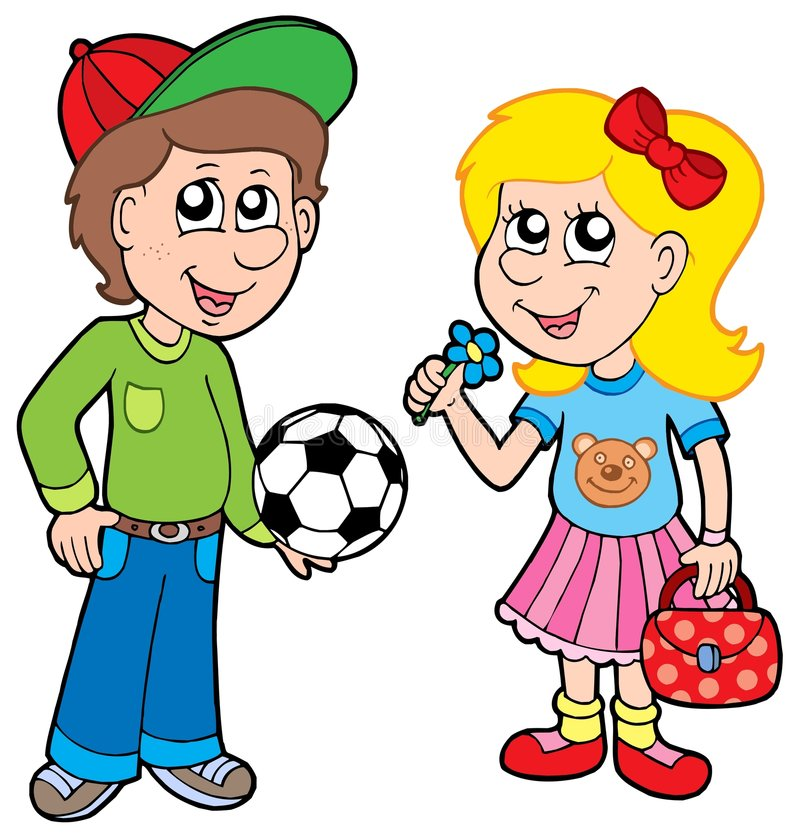 Cartoon boy and girl stock illustration