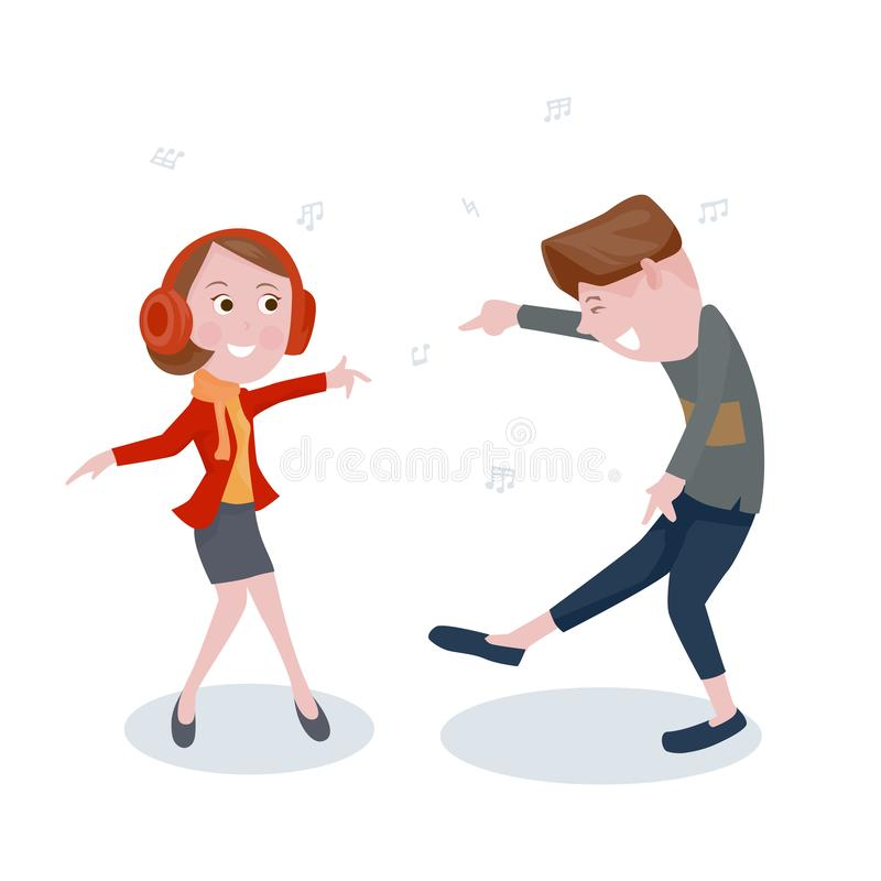 Cartoon boy and girl dancing according to the music rhythm royalty free illustration
