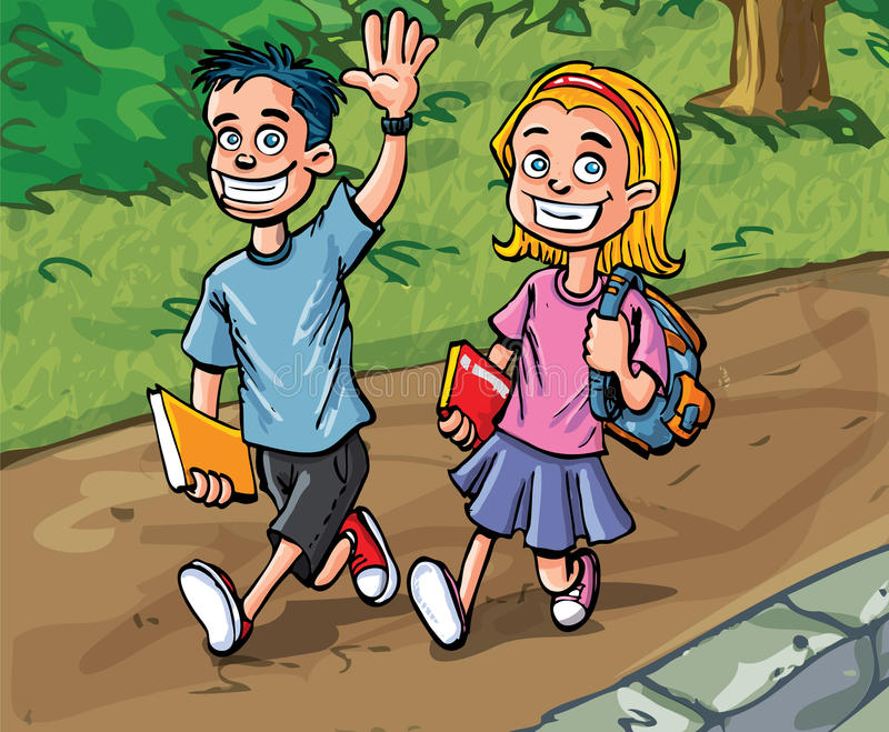 Cartoon boy and girl going to school stock illustration