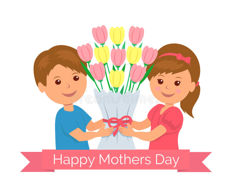 Cartoon boy and girl holding a bunch of tulips as a gift mom. Concept design background for greeting card or invitation royalty free illustration