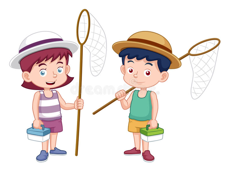 Cartoon boy and girl with insect net royalty free illustration