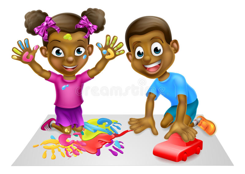 Cartoon Boy and Girl Playing with Toy Car and Paint. Cartoon black boy and girl playing with toys, with paints and toy red car royalty free illustration