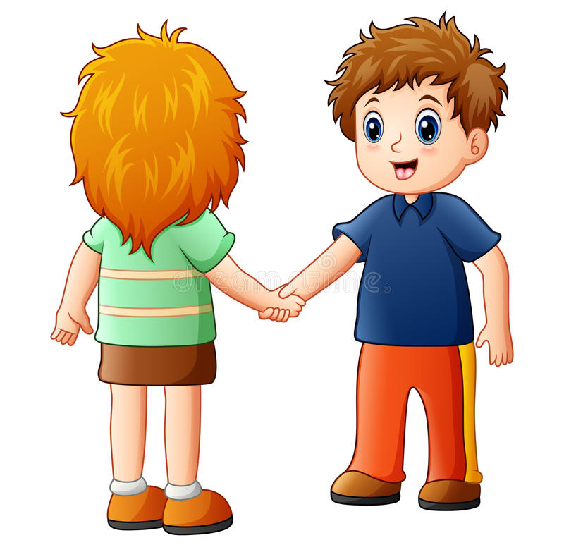 Cartoon boy and girl shaking hands. Illustration of Cartoon boy and girl shaking hands royalty free illustration