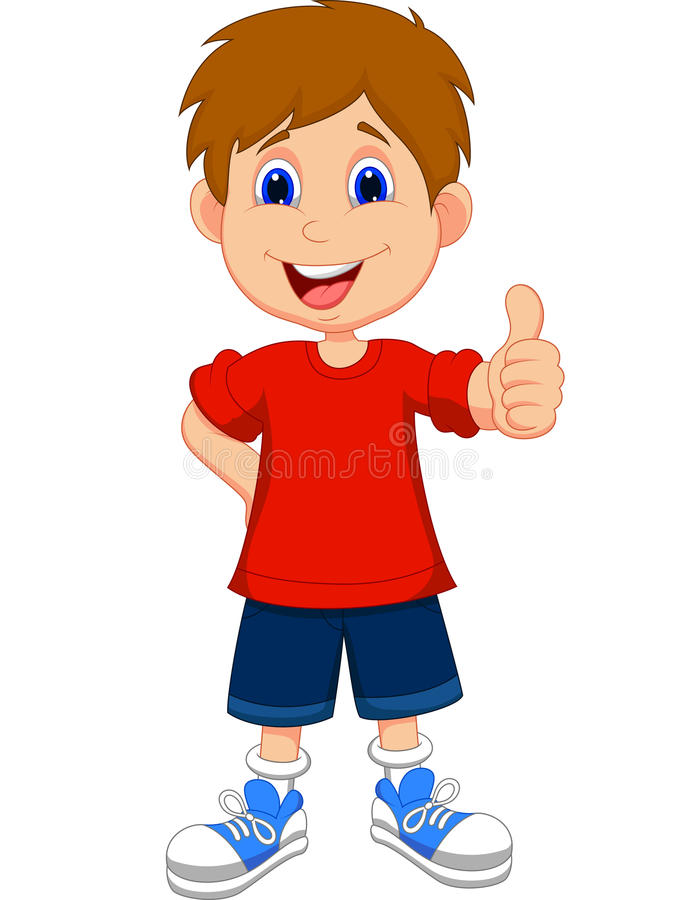 Cartoon boy giving you thumbs up vector illustration