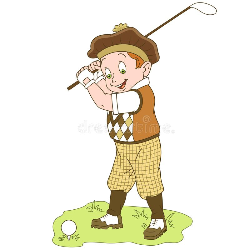 Cartoon boy golf player royalty free stock photography