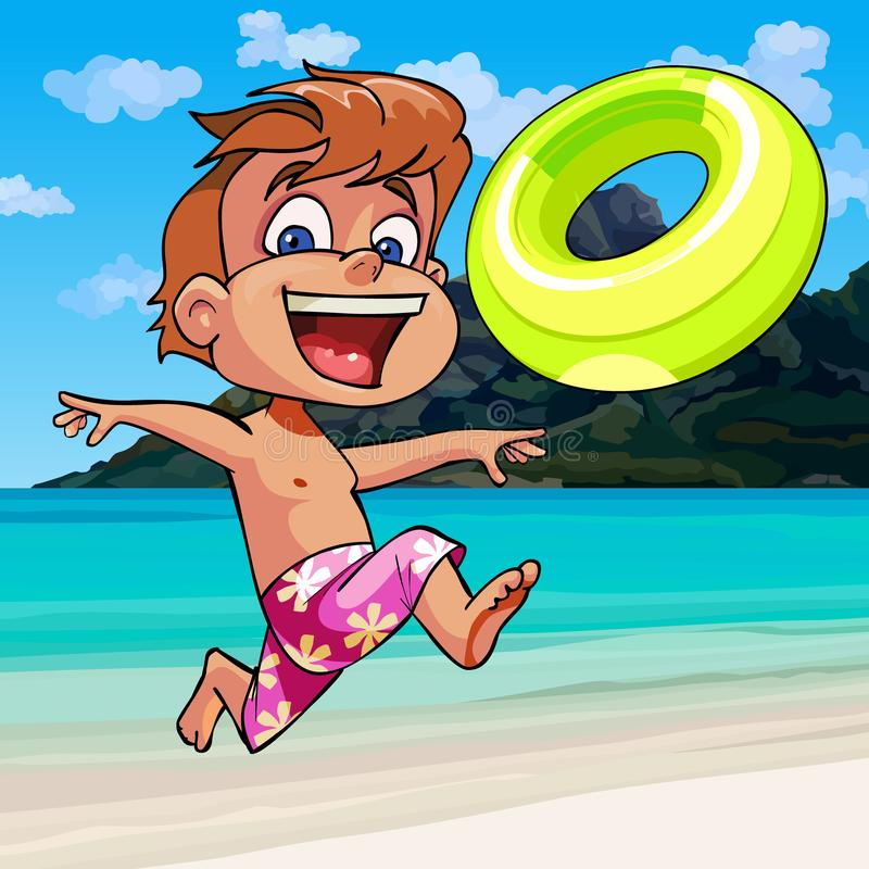 Cartoon boy happily runs along the seashore. Cartoon boy happily runs with an inflatable circle along the seashore vector illustration
