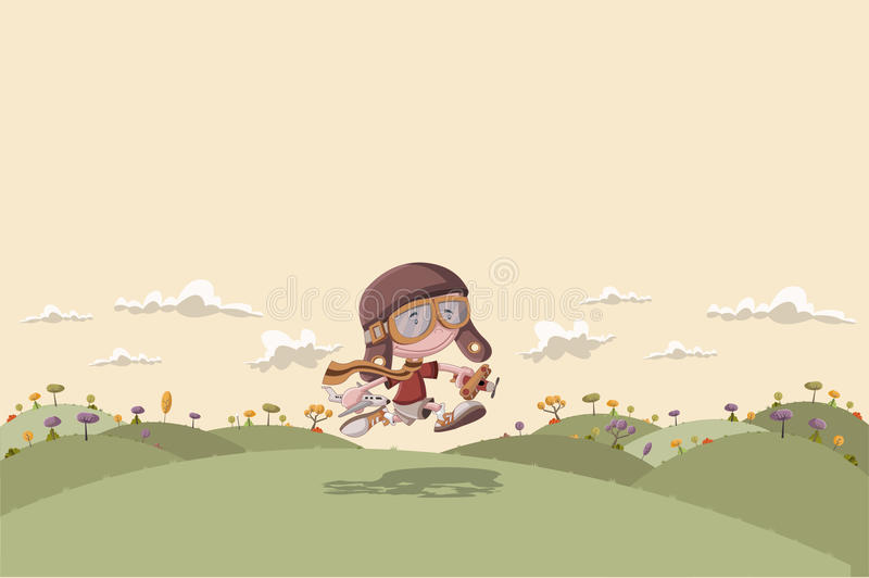 Download Cartoon Boy With Helmet And Goggle Running On Green Park Stock Vector - Image: 37048995