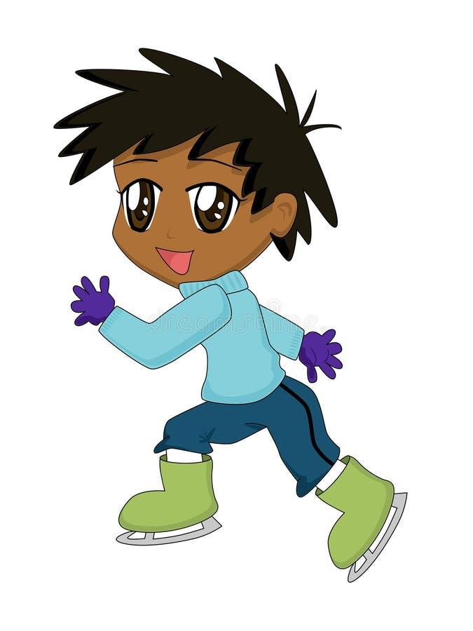 Cartoon Boy on Ice Skates stock image