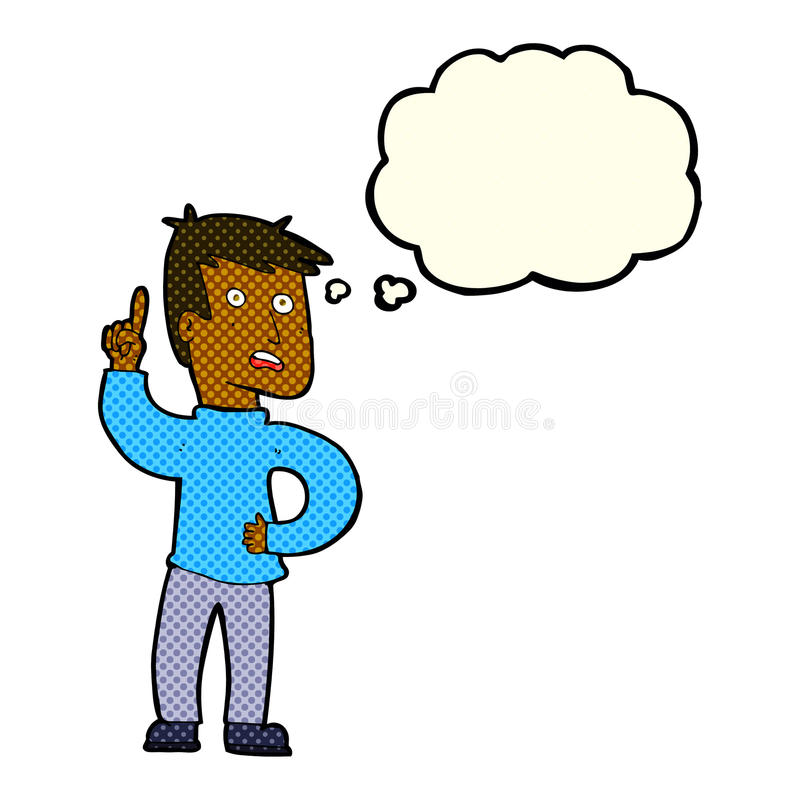 Cartoon boy with idea with thought bubble vector illustration