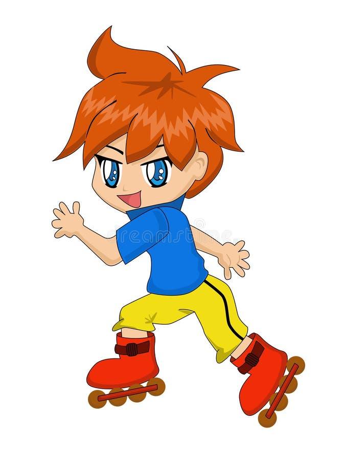 Cartoon Boy On Inline Skates Stock Images