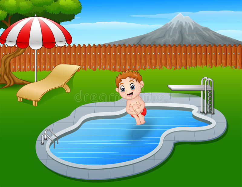 Kids in swimming pool boys and girls in swimwear Vector Image