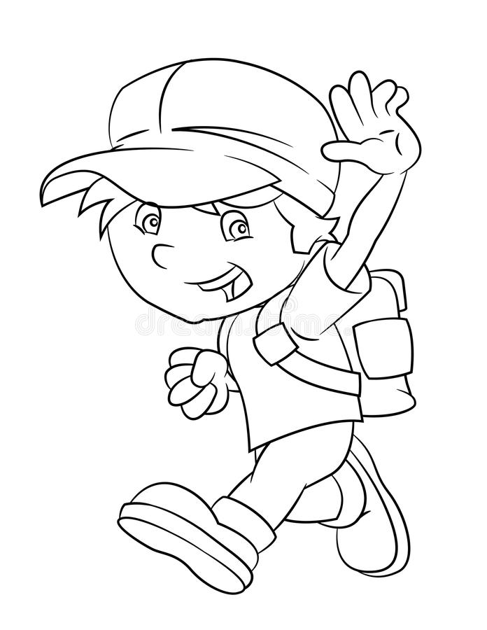Download Cartoon Boy Looking Running And Smiling