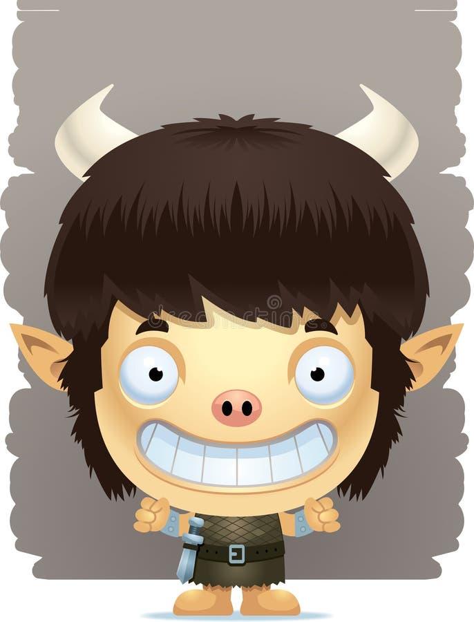 Cartoon Boy Ogre Smiling vector illustration