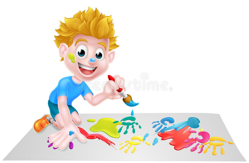 Cartoon Boy Painting With Brush vector illustration