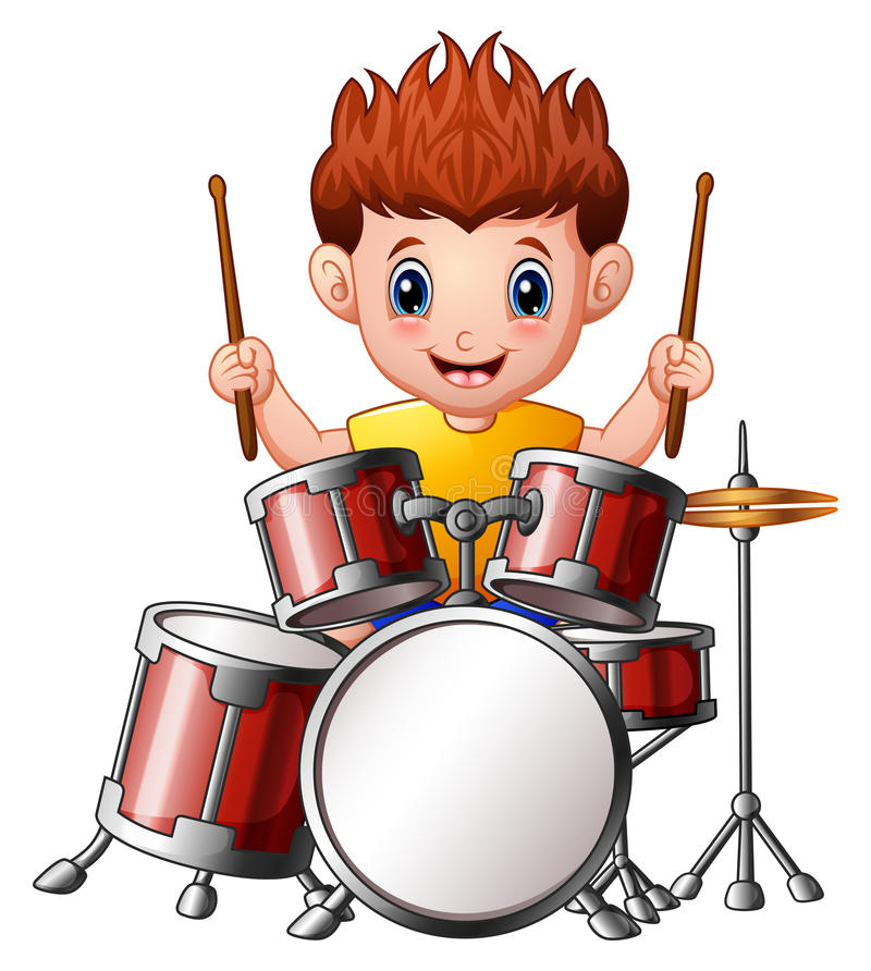 Cartoon Boy Playing A Drums Stock Vector - Illustration of ...