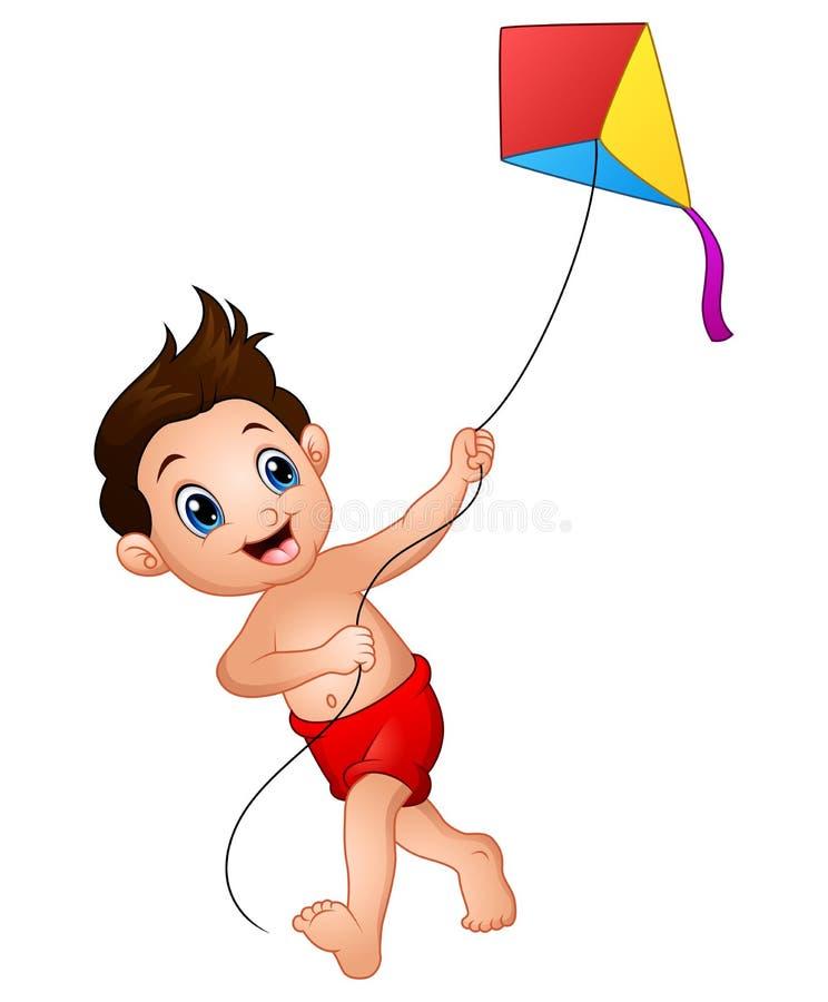 Free Cartoon Boy Playing Kite Royalty Free Stock Images - 89952199