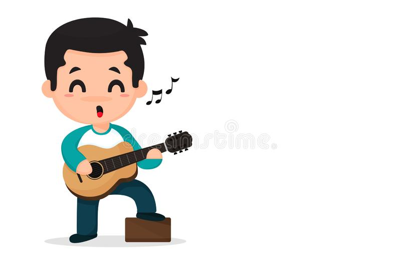Cartoon boy playing music and singing vector illustration