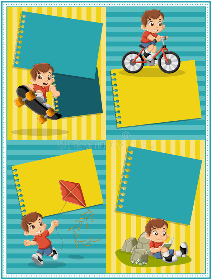 Cartoon boy playing. Sports and toys. stock illustration