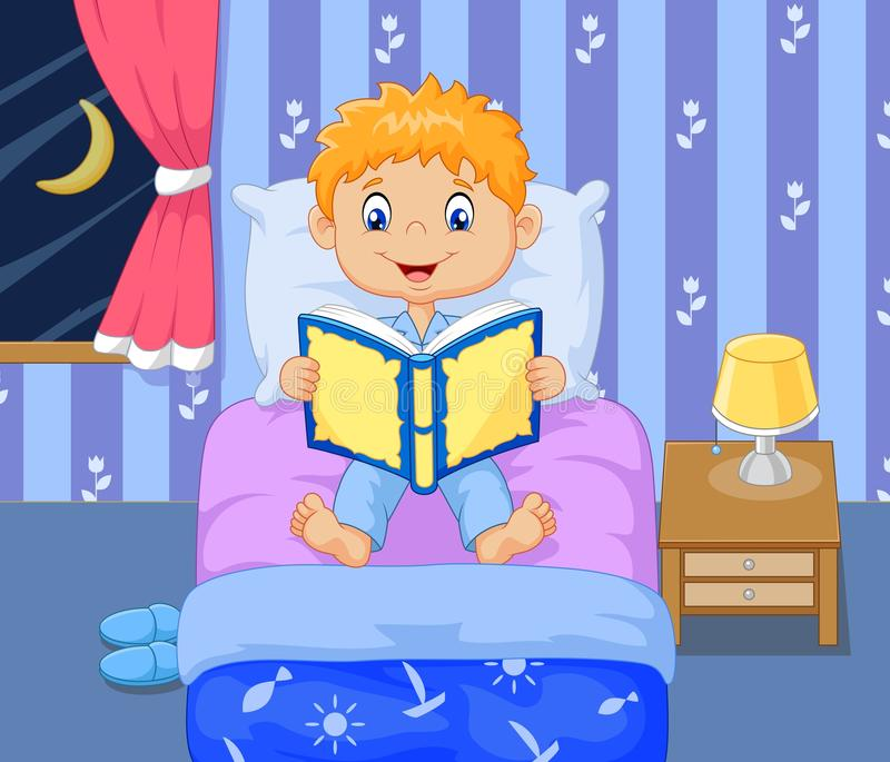 Cartoon boy reading bed time story vector illustration