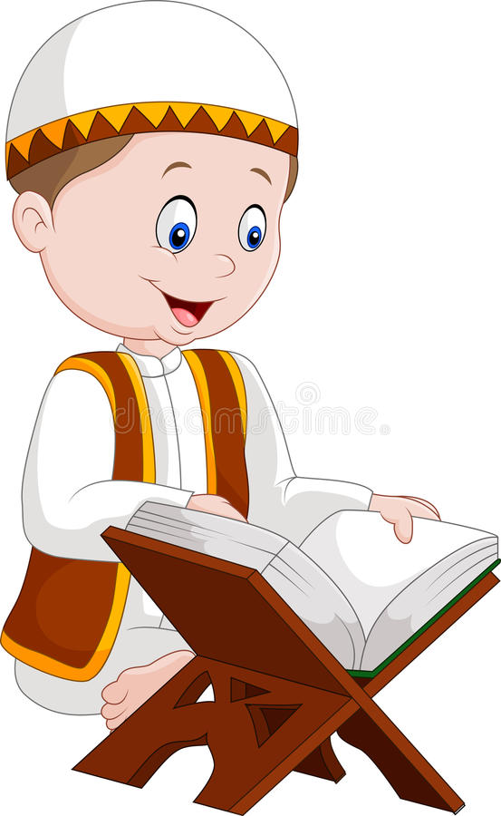 Cartoon boy reading Quran. Illustration of Cartoon boy reading Quran stock illustration