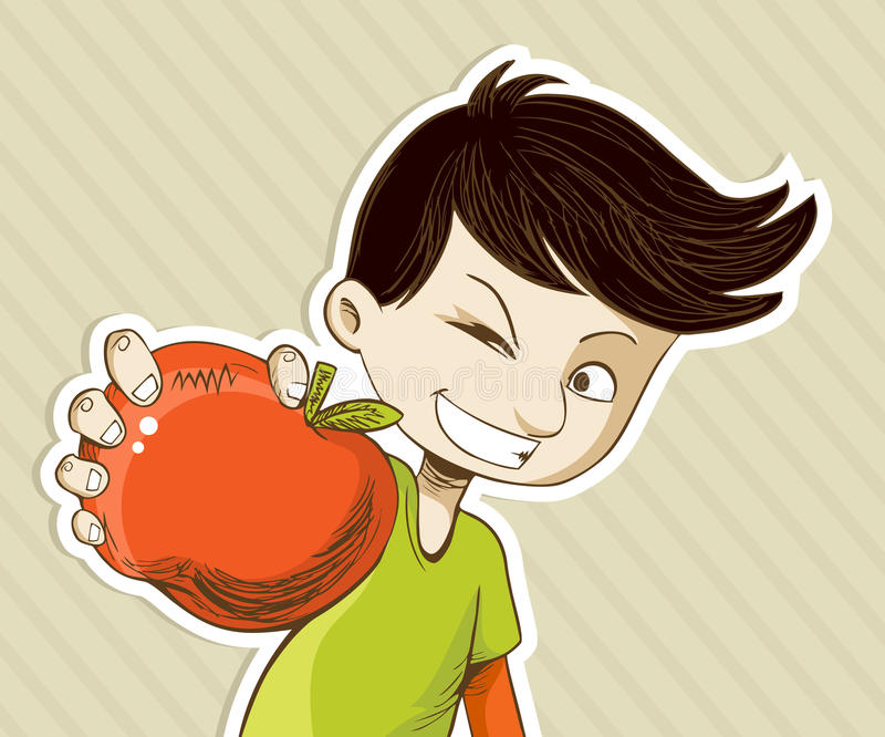 Cartoon boy with red apple. Healthy food, cartoon teenager boy with red apple. Vector file layered for easy manipulation and custom coloring vector illustration