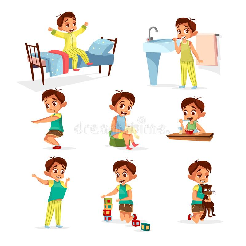 Cartoon boy daily routine activity set. Male character wake up, stretch, brushing teeth doing gymnastics, toilet, dressing up eat breakfast play cat, cube toys stock illustration