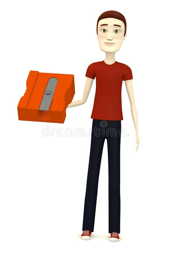 Cartoon Boy With Sharpener Stock Images