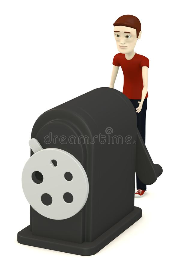 Download Cartoon boy with sharpener stock illustration. Illustration of stationery - 31261516