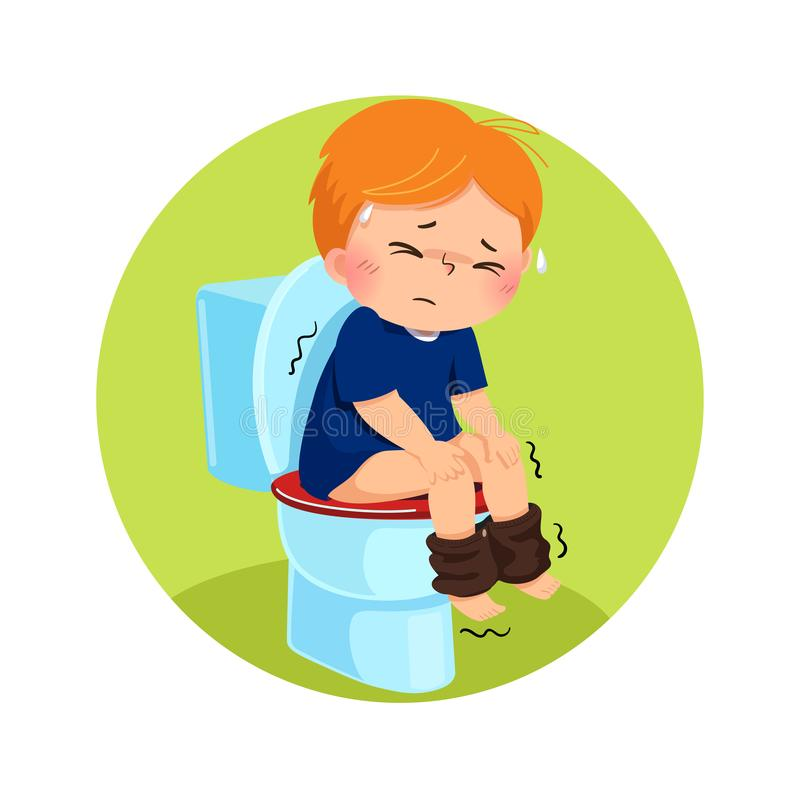 Cartoon boy sitting on the toilet and suffering from diarrhea or constipation. Health Problems concept royalty free illustration