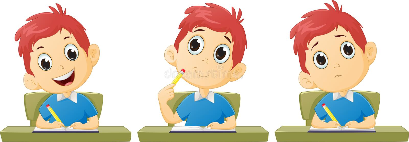 Cartoon boy studying stock illustration