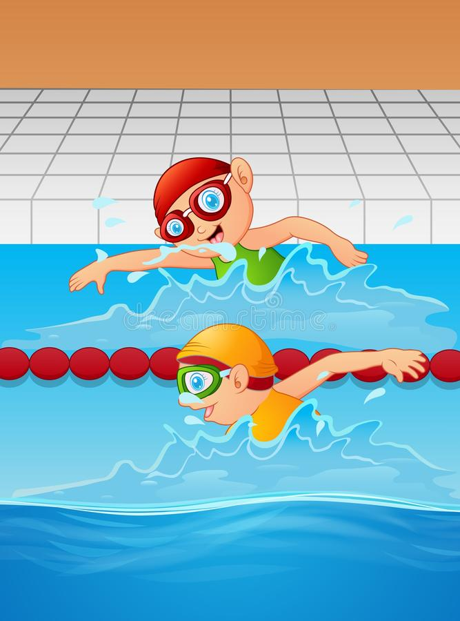 Cartoon boy swimmer in the swimming pool royalty free illustration